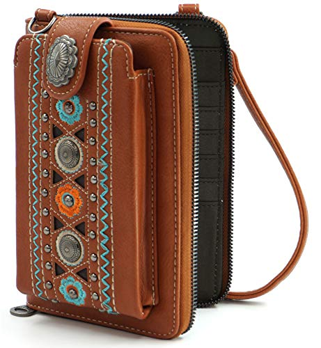 Montana West Crossbody Cell Phone Purse For Women Western Style Phone Bags Travel Size With Strap MWUSA-PHD-114BR