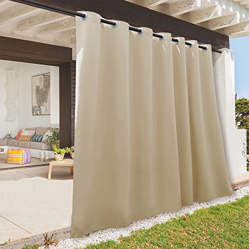 RYB HOME Indoor Outdoor Deck Curtain, Outdoor Patio Curtain Waterproof Windproof, Darkening Window Panel for Sliding...