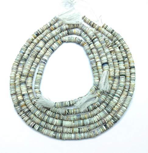 Shree_Narayani Cuentas sueltas de ópalo blanco de calidad fina Strand Smooth Tire 6-7mm 16 pulgadas para hacer joyas DIY manualidades encantos collar pulsera pendiente 1 hebra