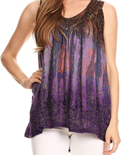 Sakkas 17805 - Freya Dip Dyed Tie Dye Tank with Sequins and Embroidery - Brown - OSP Black Crinkle Tank Top