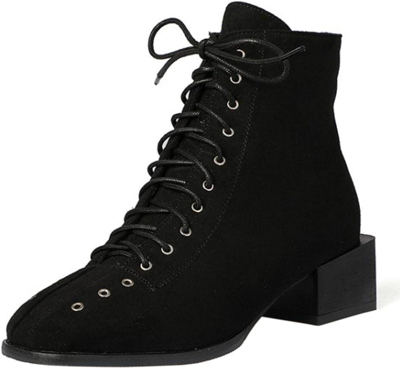 KemeKiss Women Fashion Square Heel Bootie Lace Up