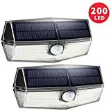 200 LED Lampe Solaire Extérieur [Version Innovante] 2 Pack 3 Modes Intelligents Lampe Solaire Etanche IPX7 Détecteur de Mouvement Solaire Puissante Eclairage Extérieur pour Jardin, Garage, Escalier