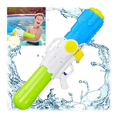 Relaxdays Wasserpistole, 3,2 Liter Wassertank, 10 Meter Reichweite, zum Pumpen, Kinder & Erwachsene, Spritzpistole, bunt