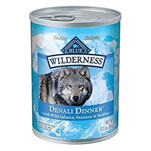 Blue Buffalo Wilderness Denali Dinner High Protein, Natural Wet Dog Food, Wild Salmon, Venison & Halibut 12.5-oz cans (Pack of 12)