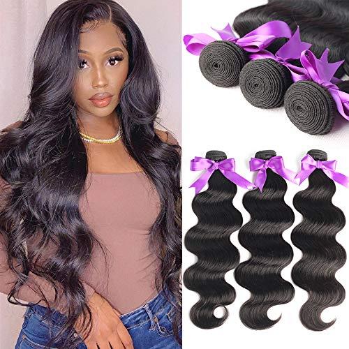 Brazilian Body Wave Hair 3 Bundles 20 22 24 inch Bundles Virgin Hair Bundle Deals Long Hair Extensions Unprocessed Remy Human Hair Weaves