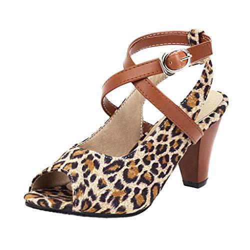 WHSHINE Damen Peep Toe Chunky Heels Slingback Sandalen, Cross Ankle Straps High Heels Pumps Schuhe