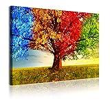 DekoArte 364 Cuadros Modernos Impresión de Imagen Artística Digitalizada, Lienzo Decorativo para Tu Salón o Dormitorio, Estilo Paisaje Árboles Cuatro Estaciones del Año, rojizos, 1 pieza (120x80x3cm)
