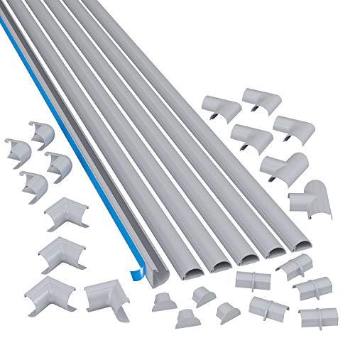 D-Line Mini Kabelkanal zur Kabelführung, Runder Aluminium-effekt Kabelkanal, 30x15mm, 6 x 1.5 m Länge (9 meter)