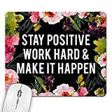 MyCozyCups Stay Positive Work Hard and Make It Happen Mouse Pad - Inspirational Motivational Quote Mousepad for Women, Her, Best Friend - Cute Black Farmhouse Rustic Home Office Space Decor Non-Slip [並行輸入品]