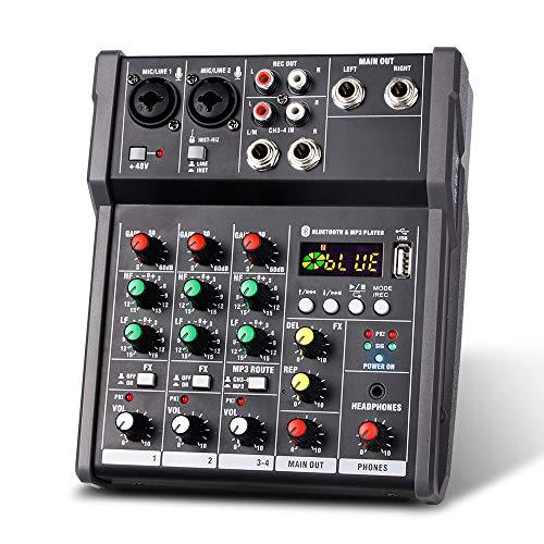 Rantoloys Tragbarer 4-Kanal-USB-Mischpult Digitaler Audiomischer Unterstützt BT-Verbindung für Live-Broadcast-DJ Karaoke des Studio-Aufzeichnungsnetzwerks