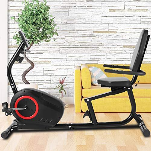 ANCHEER Liegeergometer - 8-stufiges Fitnessrad mit Magnetwiderstand , Indoor-Fahrrad mit Tablet-Halter/Pulssensoren, maximales Gewicht 240 lbs