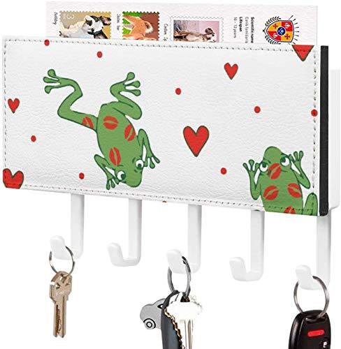 Gancho para llaves montado en la pared, clasificador de correo, decoración del hogar con flecha de Cupido para la entrada, estante de exhibición de periódicos con 5 ganchos para llaves, besos de rana