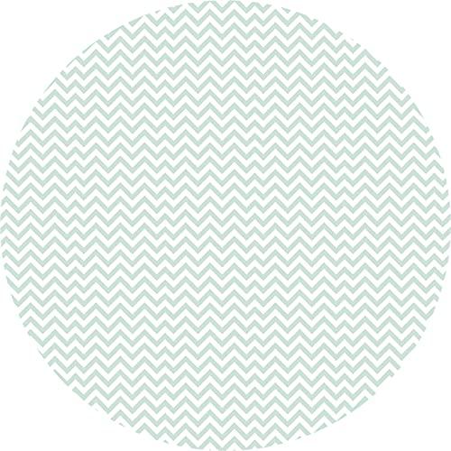 Deco&Fun - Alfombra Vinílica Redonda Zigzag Verde Menta Mint 100x100cm - Alfombra PVC Alfombra vinílica Cocina- Alfombra vinílica salón - Alfombras de Vinilo- Alfombra Redonda
