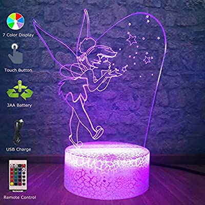 Christmas Cartoon Cute Eif Tinker Bell Miss Bell 3D Night Light 7 Color Change Bedroom Decor Table Lamp Birthday Kid Toy
