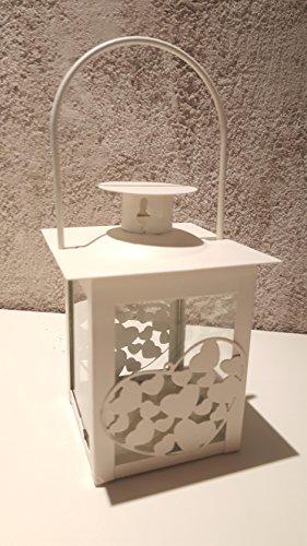 lanterna bianca porta candela in metallo e vetro porta tealight bomboniera EmozionarSi