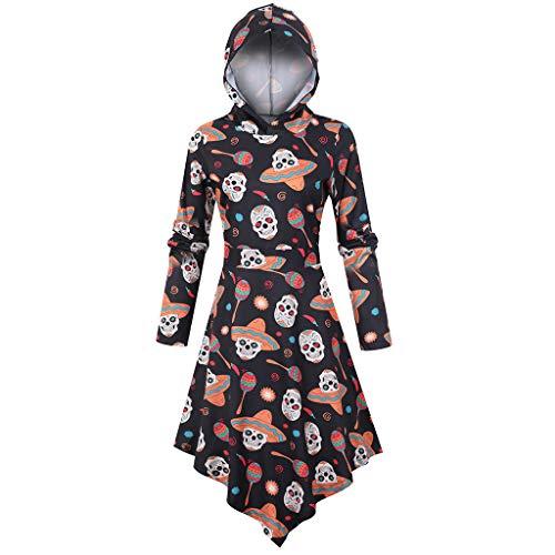 Damen Halloween Haunt Geripptes Kleid Indische Kleidung Damen Halloween Kostüm Damen Jeans Kleid Uv Schutzkleidung Kinder Halloween Kostüm Kleid Schulterfrei Latex Kleid Halloween(G-Mehrfarbig,L)