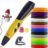 Los bolígrafos 3D, la Pluma de impresión 3D con 12 Colores PLA Filamento, Lápiz de Dibujo 3D Creativo DIY, Juguetes para Inspirar a los niños Adolescentes,Yellow