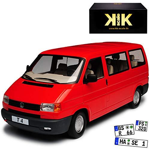 KK-Scale Volkwagen T4 Caravelle Bus Personen Transporter Rot 1990-2003 1/18 Modell Auto
