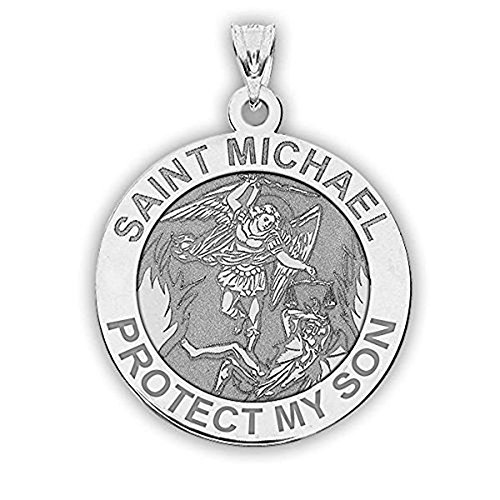 PicturesOnGold.com Saint Michael - Protect My Son - Religious Medal - 3/4 Inch Size of a Nickel in Sterling Silver