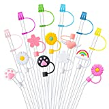 27 Pieces Straw Tips Cover Reusable Drinking Straw Lids, Silicone Straw Plug Drinking Dust Cap, Colorful Drinking Straw Caps for 6-8 mm Straws Anti-dust Straw Tips Plugs (Straw Not Included)