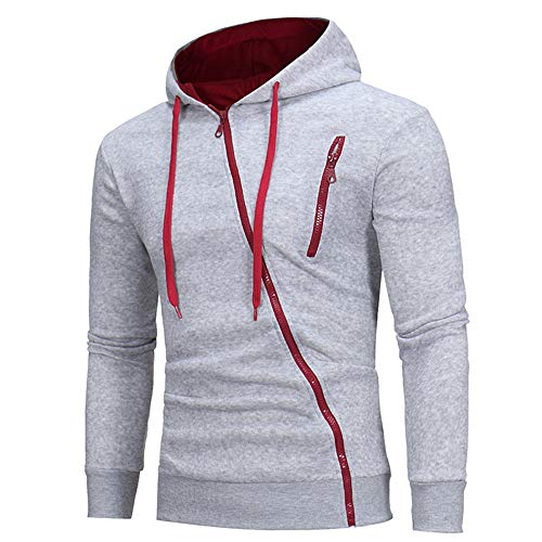PRJN Men's Hoodie Diagonal Zipper Design Long Sleeve Hoodie Mens Hoodie Unique Diagonal Zipper Design Sweatshirt Solid Color Hooded Long Sleeve Sport Tops with Pocket Diagonal Zipper Hooded