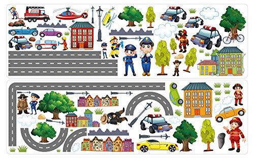 dekodino® Wandtattoo Straßen Set mit Polizei und Fahrzeugen Wandsticker Deko