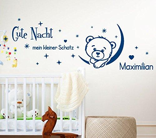 Wandora G186 Gute Nacht mit Wunschname + Teddy Mond Wandaufkleber Wandsticker schwarz (BxH) 130 x 54 cm