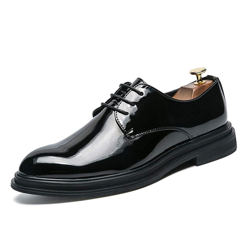 男士革靴 レザーシューズ メンズ ビジネス オックスフォード カジュアル 快適な クラシック ピュアカラー フォーマルシューズ 個性な (Color : ブラック, サイズ : 24 CM)