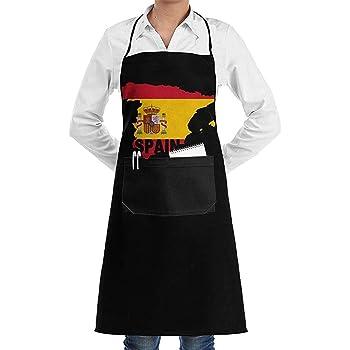 Groefod Delantal con peto para mujeres Hombres Chef Mapa de la bandera de España Delantales de cocina de cocina duraderos con 2 bolsillos: Amazon.es: Hogar