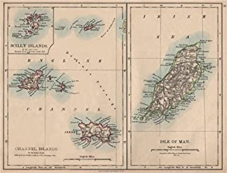 BRITISH ISLANDS. Isle of Man Channel Islands Jersey Guernsey. JOHNSTON - 1895 - old map - antique map - vintage map - printed maps of UK