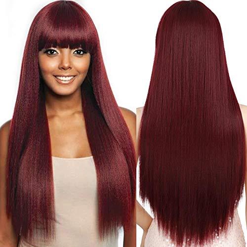 Peluca rojo vino con flequillo Pelucas sintéticas para n pelucas resistentes al calor Peluca de uso lácteo de 30 pulgadas - Color, China