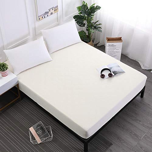 CYYyang Protector de colchón de Rizo algodón y Transpirable Sábana Impermeable de Color Puro Antideslizante-Beige_183X190X30cm