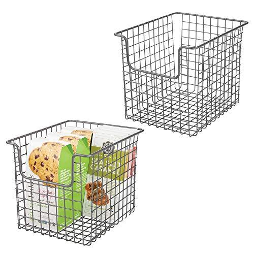 mDesign Juego de 2 cestas organizadoras multiusos en alambre de metal – Versátil organizador de cocina, despensa, etc. – Cesta de metal con asas para todo tipo de almacenaje...