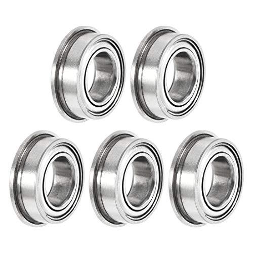 Sourcingmap MF95zz - Rodamientos de bolas con brida (5 x 9 x 3 mm, doble blindado, acero cromado, 10 unidades)