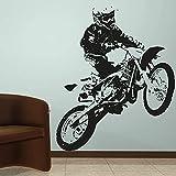 Motocross Dirt Bike Motocicleta Stunts Show Extreme Sport Casco Jugador Vinilo Etiqueta de la pared Calcomanía Niño Dormitorio Sala de estar Club Decoración del hogar Mural