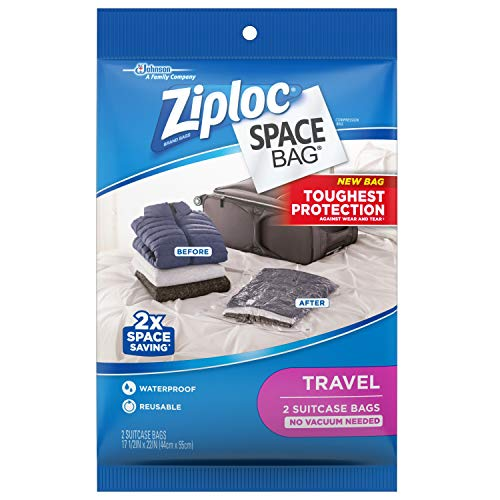 Ziploc Space Bag Clothes Vacuum Sealer Storage Bags for Home and Closet Organization, Protects from Moisture, Dust and Pests, Pack of 2 (Travel)