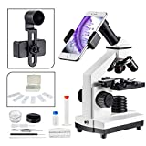 MAXLAPTER LED 1000x Microscope for Kids Student Adult Slice Kit with Phone Adapter