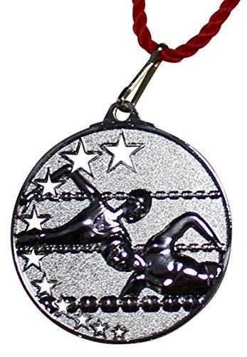 Pokalkönig Medaille Metall Schwimmen Set Gold, Silber, Bronze inklusive Kordeln 5,2cm (10x Silber)