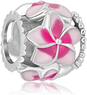 CharmSStory Orchid Flower Love Enamel Charm Beads Charms for Bracelets