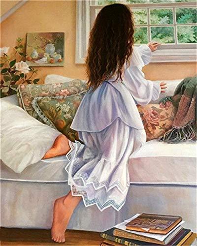 Pintar por números pijamas niña DIY kit de pintura acrílica para niños y adultos principiantes-40x50 cm sin marco 🔥