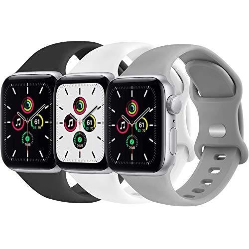 Funeng 3 Pack kompatibel mit Apple Watch Armband 38mm 40mm 42mm 44mm, Weiche Silikon Sport Ersatz Armband für iWatch Series 6 5 4 3 2 1 SE (42mm/44mm S/M, Schwarz/Weiß/Grau)