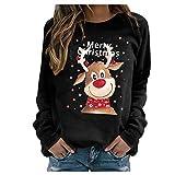 FeelFree+ Sudadera con Capucha para Mujer Moda navideño suéter de Punto Divertido Otoño Invierno Talla Grande Manga Larga Jersey Suelto Suave y cómodo Blusa