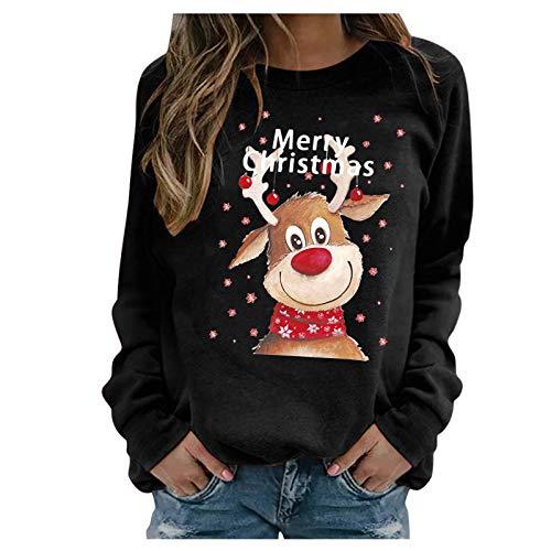 Binggong Weihnachten Pullover Damen, Weihnachtsmotiv Langarm Rudolph Rentier Elfe Druck Weihnachtspullover Rundhals Patchwork Christmas Sweatshirt Xmas Pulli Bluse Oberteil