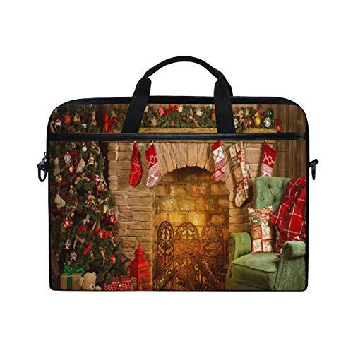 VICAFUCI New 15-15.4 Zoll Laptop Tasche,Umhängetasche,Handtasche,Frohe Weihnacht-Guten Rutsch ins Neue Jahr-Weihnachtsbaum-Kamin-Ziegelstein-Strümpfe