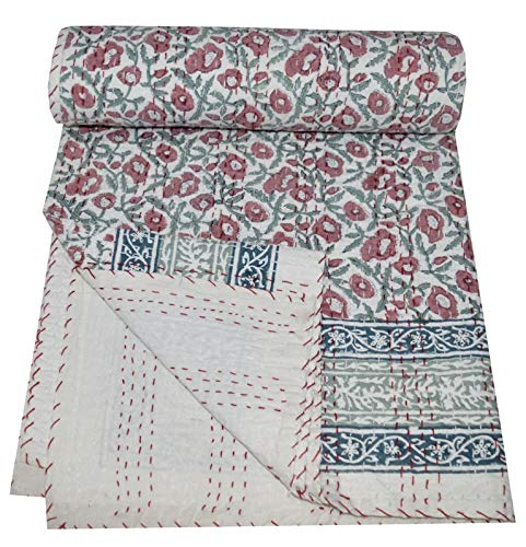 Yuvancrafts Indian Hand Block Floral Print Kantha Quilt Handmade Vintage Queen Size Cotton Kantha Throw Blanket Bedspread (Multi Floral, Twin Size)