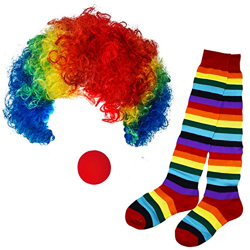 Funny Party Hats Clown Costume - Clown Hat, Jumbo Tie & Clown Nose - Clown Accessories