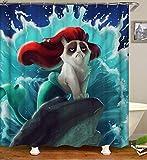 dsgrdhrty Pintura al óleo Fondo Azul Verde Personaje de Dibujos Animados Perro Impermeable baño Cortina Antibacterial portátil y Lavable