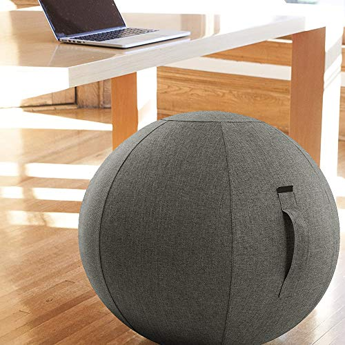 Naturoom Sitting Ball Chair, Office, Dorm & Home, Lightweight Self-Standing Ergonomic Posture Activating, Exercise Ball Solution with Handle & Cover, Classroom & Yoga, Grey