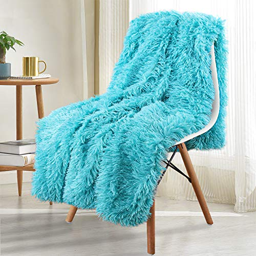 Noahas Shaggy Longfur Throw Blanket with Sherpa Warm Underside, Super Soft, Cozy Large Plush Fuzzy Faux Fur Blanket, Washable Couch or Bed Throws Christmas Decorative Gift Ideal 50x60, Teal