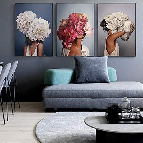 LWJZQT Leinwanddrucke 3 Stücke Moderne Poster Und Drucke Blumen Feder Frauen Drucken Ölgemälde Leinwand Wandkunst Bilder Für Wohnzimmer Dekoration 60×80cm